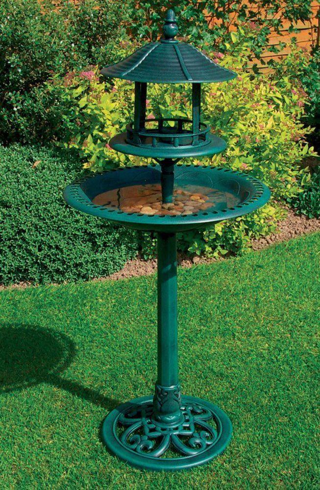 Bird Bath Decorative Bowl Feeder Solar Lighted Antique Bronze Garden Outdoor New