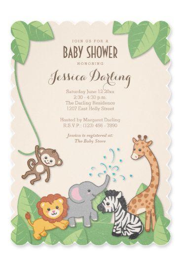 Safari Jungle Animals Modern Baby Shower Invitation In 2018 Ginger