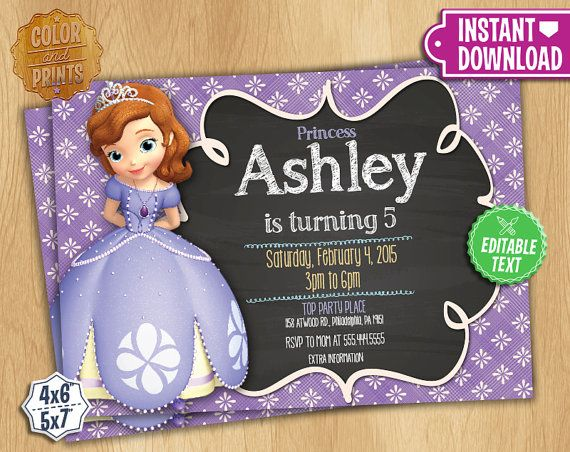 Sofia The First Invitation Editable Text By Colorandprints Sofia Birthday Invitation Princess Sofia Birthday Birthday Party Invitations