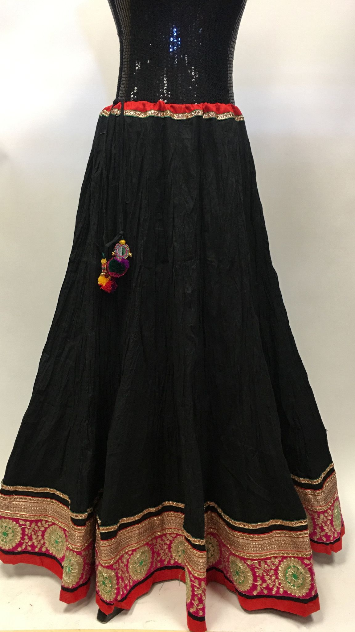 long black skirt in crushed cotton and multicolor sari border. lix ...
