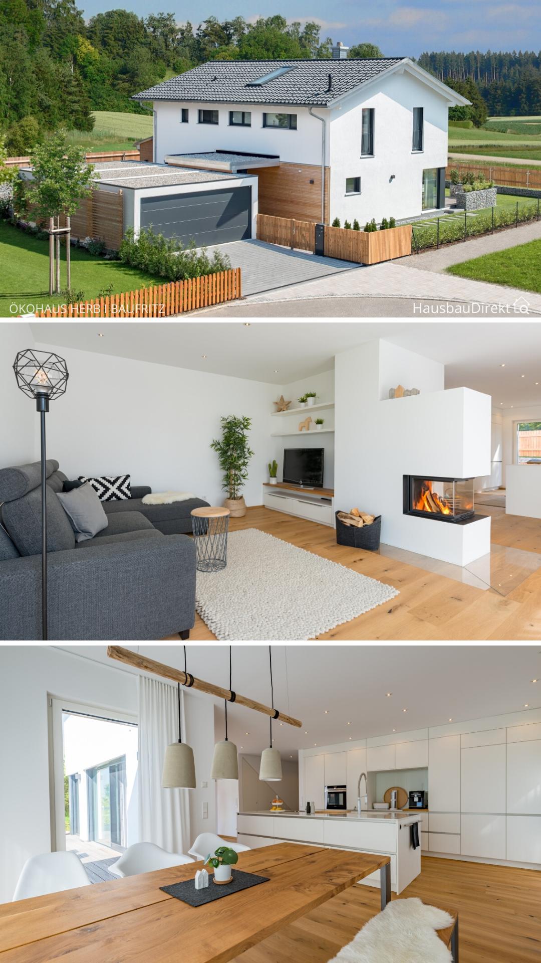Einfamilienhaus modern mit Garage & Satteldach bauen, Haus Design Ideen innen aussen mit Kamin