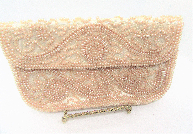 Vintage Pearl Wedding Purse Silvercraft Hollywood Made In Etsy Vintage Pearls Wedding Purse Satin Purses