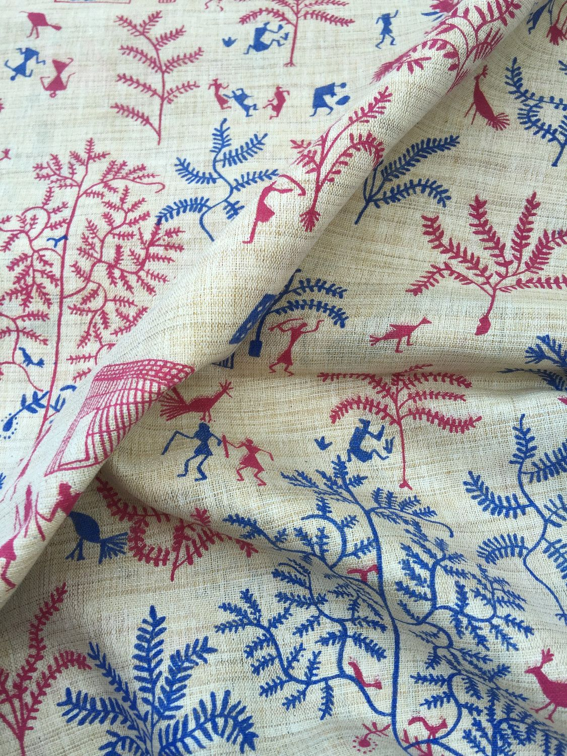 """42"""" Wide Light Weight Blue Indian Cotton Fabric Crafting Material By 1 Yard"""
