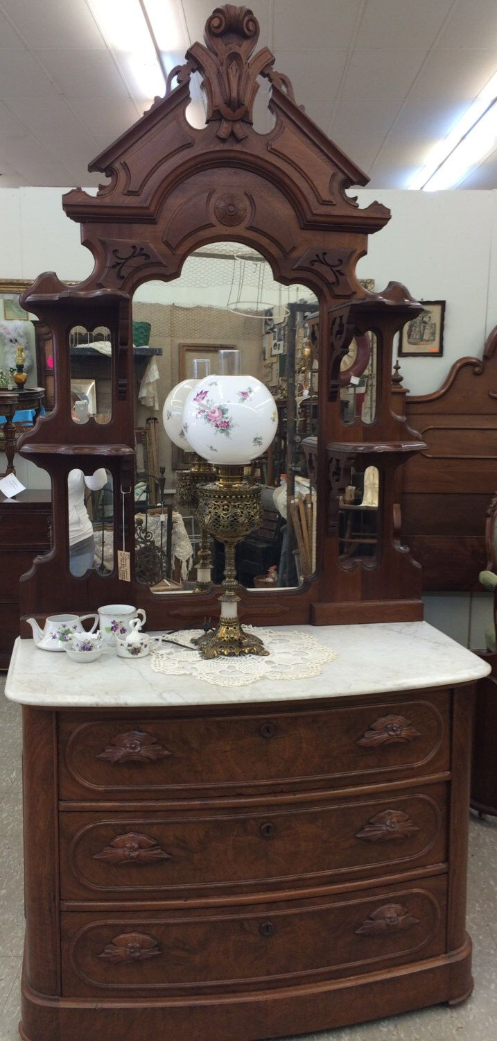 Antique Dresser With Marble Top And Ornate Mirror Victorian