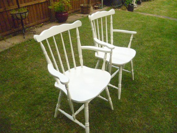 2 X Shabby Chic Vintage Carver Wooden Chairs Upcycled In Annie Sloan  Original White Chalk Paint