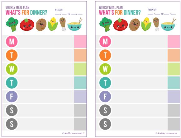dinner menu planners