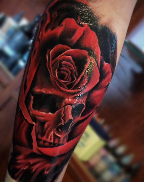 skull in rose tattoo tattoo tattooed. Black Bedroom Furniture Sets. Home Design Ideas