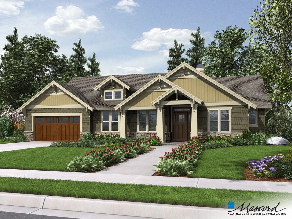 Mascord Design Nice Layout Attractive Craftsman One Story With Sensible Floor Plan Plan 1144eb T Craftsman House Plans Craftsman House Craftsman House Plan