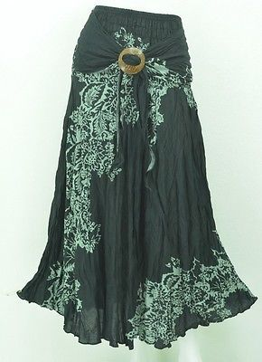 SKIRT AB242 HIPPY BOHO MAXI GYPSY CASUAL COCO BUCKLE LONG SKIRT COTTON WOMAN