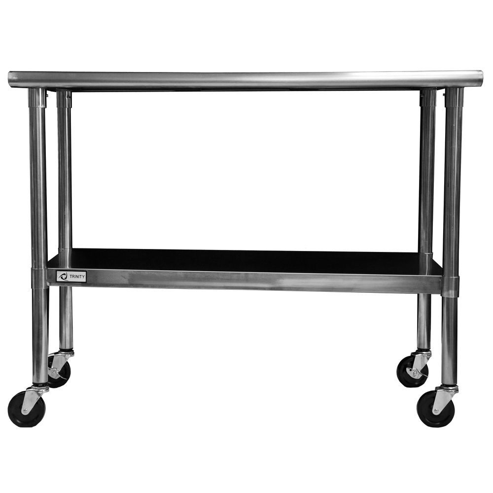 Trinity Stainless Steel Table with Caster Kit | Overstock.com ...