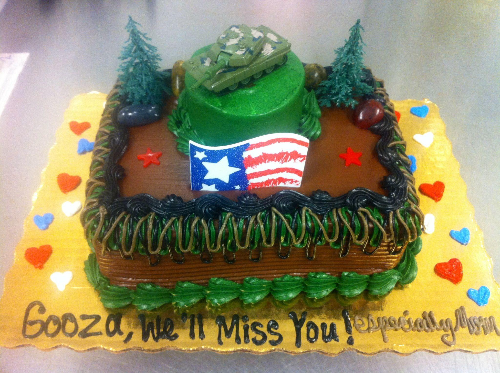Publix cake army cake usa good luck timothy