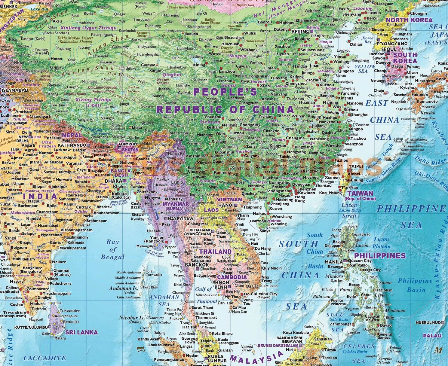 Pushpin Map Sticker World Map Mural Political Coloured Relief
