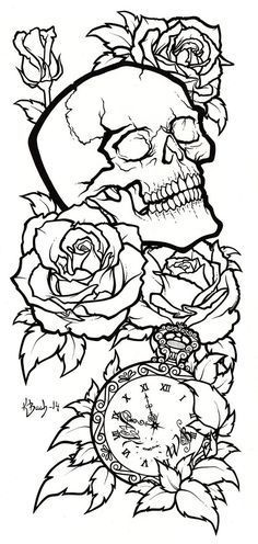 Skull Tattoo Design Lineart By BlueUndine On DeviantART