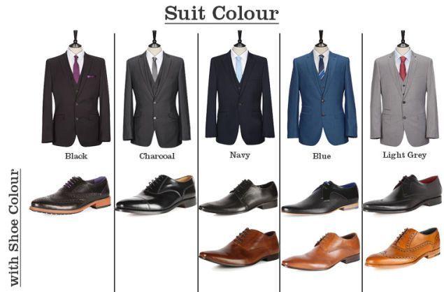 Haz que coincida tu traje y tus zapatos con esta guia. Negro, gris, azul marino, azul y gris claro.