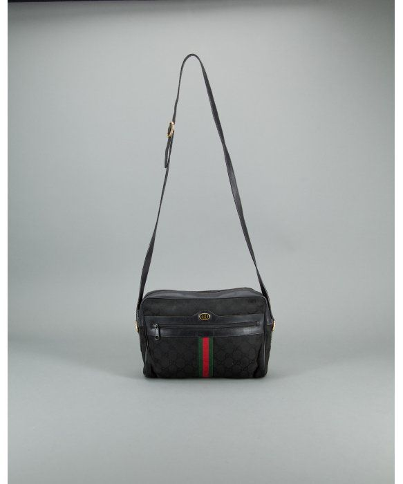 b0c528efc149 Gucci Preowned Black Gg Canvas Web Striped Vintage Crossbody Bag in Black