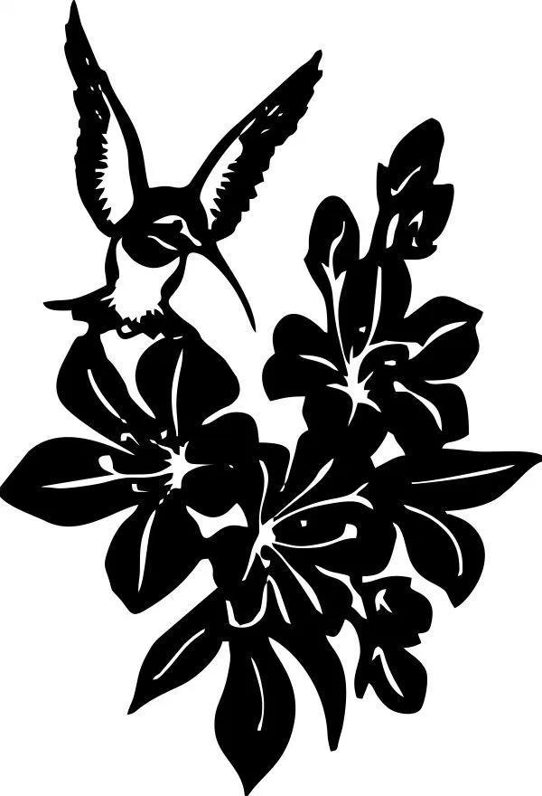 DXF CNC Plasma Laser Cut Ready Vector Hummingbird Flowers Digital CnC file