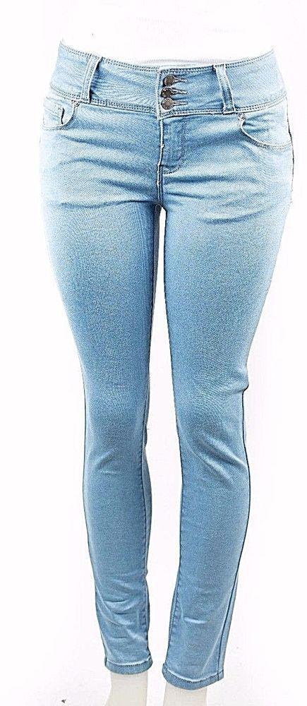 d0b8029be5f Wax Women s Juniors Body Flattering Mid Rise Skinny Jeans-Light Blue  (93400)  WaxJeans  SlimSkinny