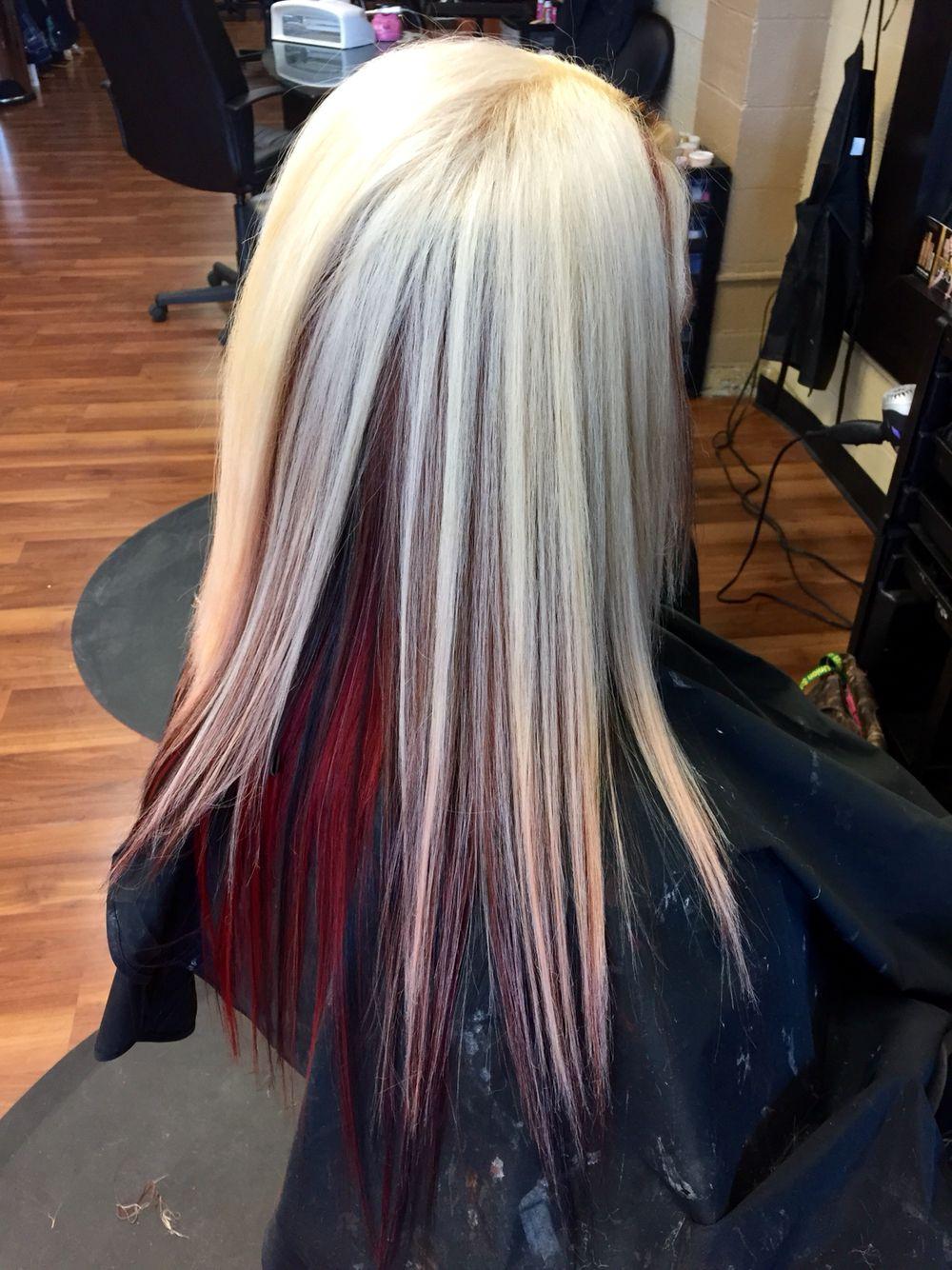 Platinum With Red Underneath And Black Peekaboos Medium Blonde Hair Maroon Hair Best Hair Dye