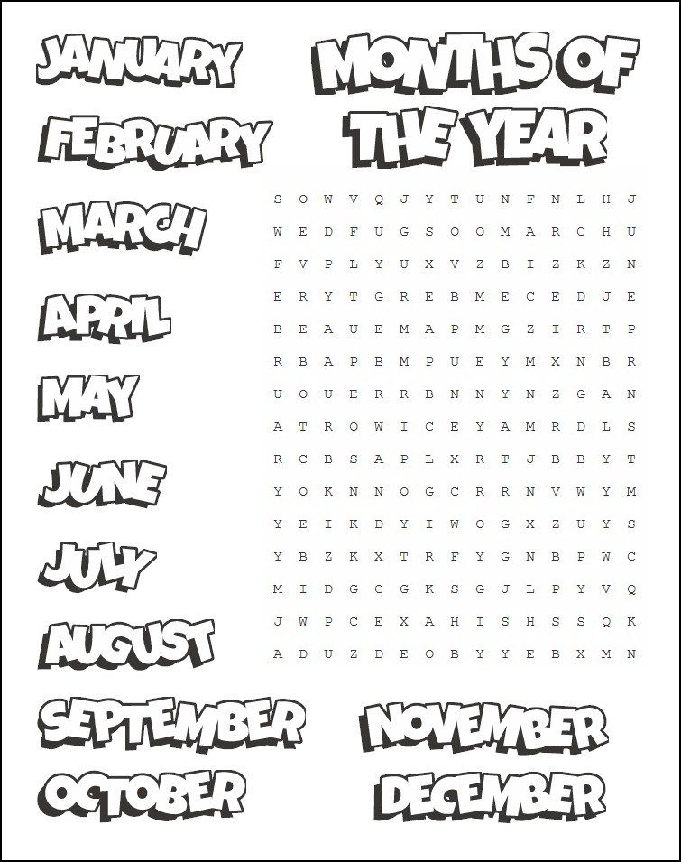 Printable Months Word Search