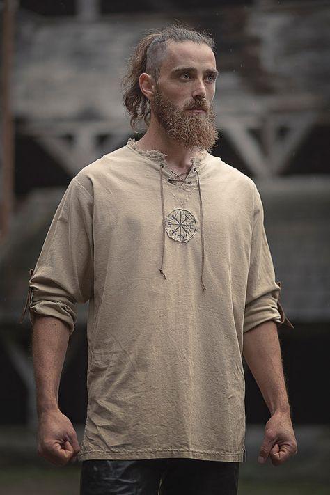 b5a79535970e Linen man shirt with ancient viking embroidery Pánské Oděvy