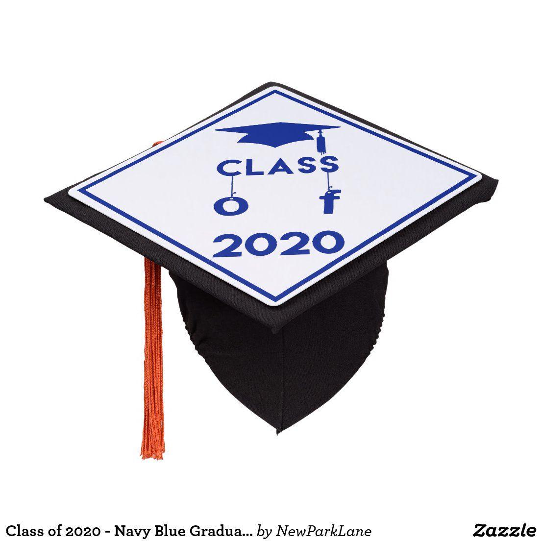 Class Of 2020 Navy Blue Graduation Graduation Cap Topper Zazzle Com In 2020 Blue Graduation Graduation Cap Toppers Graduation Cap