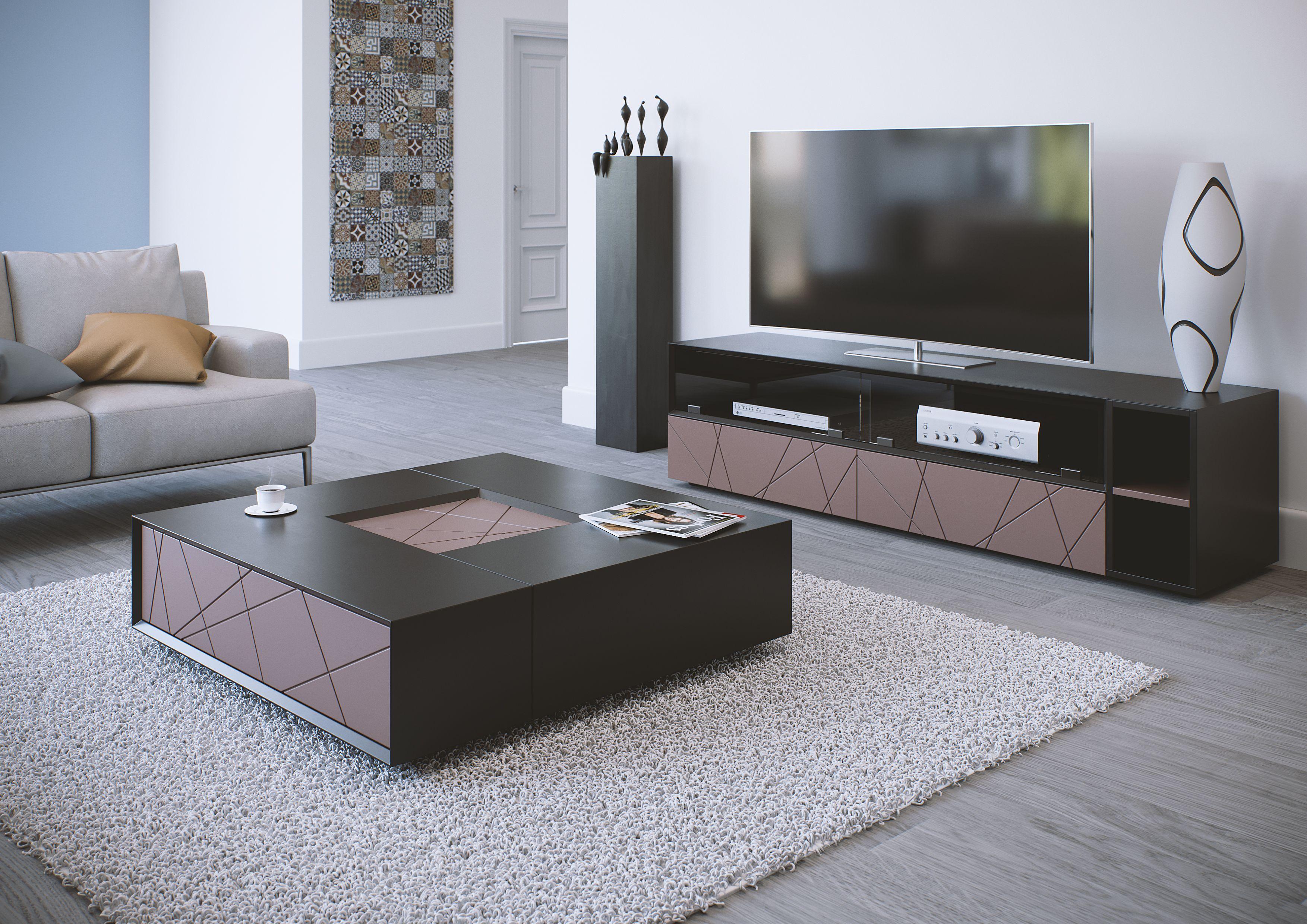 Table Basse Et Meuble Tv Stockholm Finition Laqu E Noir Et Taupe  # Meuble Tv Plus Table Basse