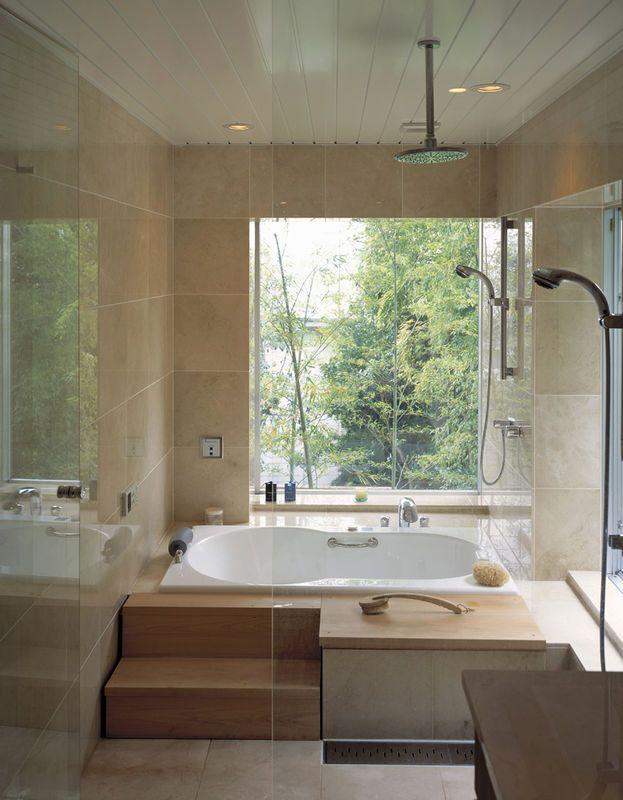 Lazienka Z Duzym Oknem Lazienka Styl Nowoczesny Aranzacja I Wystroj Wnetrz Home Corner Bathtub Interior