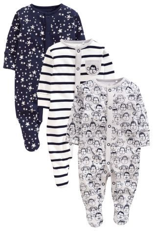 Buy Navy/Grey Monkey Sleepsuits Three Pack (0mths-2yrs) online today at Next…