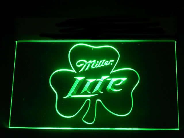 Miller lite shamrock beer neon light sign beer bar cocktail miller lite shamrock beer neon light sign aloadofball Gallery