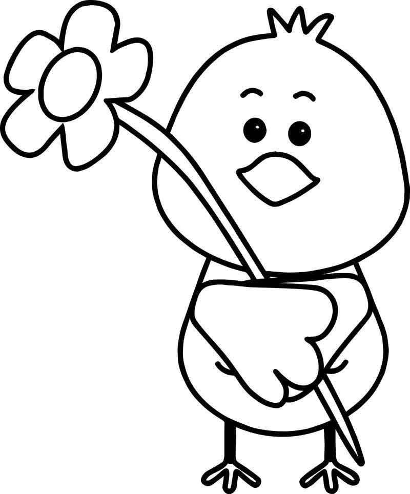 Bird Flower Spring Coloring Page #halloweencoloringpages