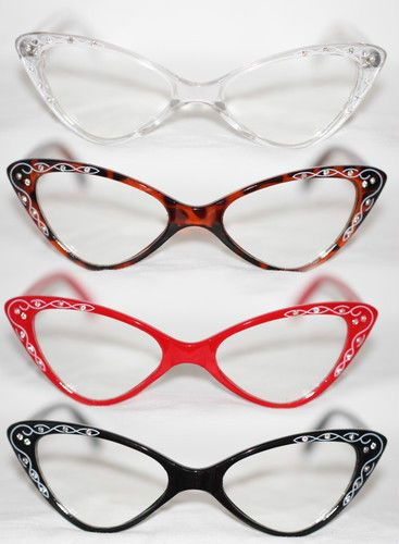 5bafe9d2c8 Cat Eye Clear Lens Glasses Rockabilly red tortoise black Retro Rhinestone  50 s  Spexx  CatEye