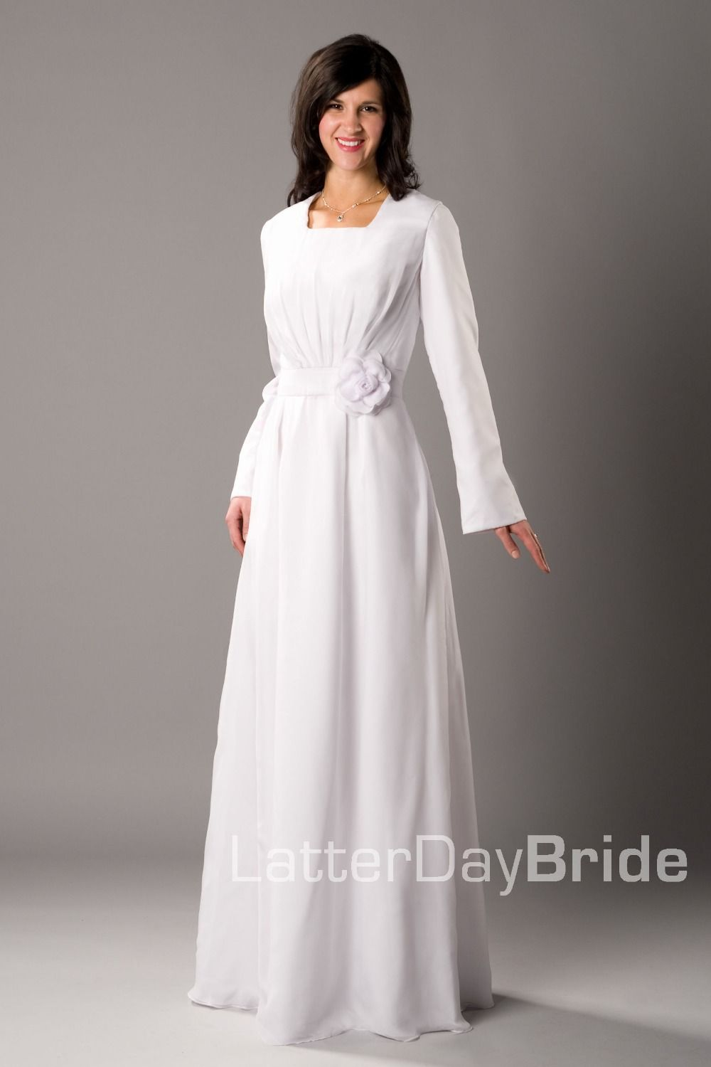 simple ivory aline floor length modest full long sleeves