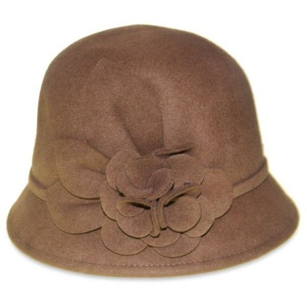 Nine West Camel Felt Cloche With Self Flower Pecan ($24) ❤ liked on Polyvore featuring accessories, hats, camel, flower hat, nine west hats, camel hat, cloche hat and felt cloche hat