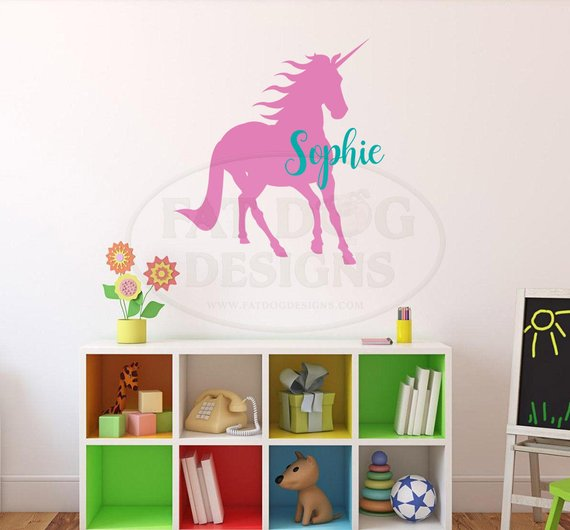unicorn name decal, kids personalized name decal kids name stickers