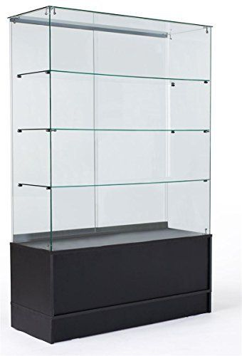 This 48-inch glass display cabinet includes 3 fixed-height glass ...