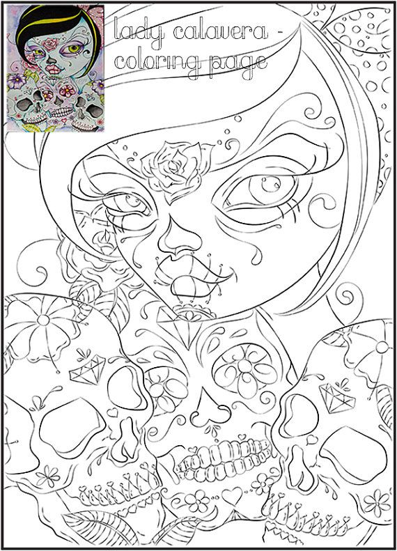 Day of the Dead Art Coloring Page - Lady Calavera - Fantasy Art PDF - fresh day of the dead mandala coloring pages