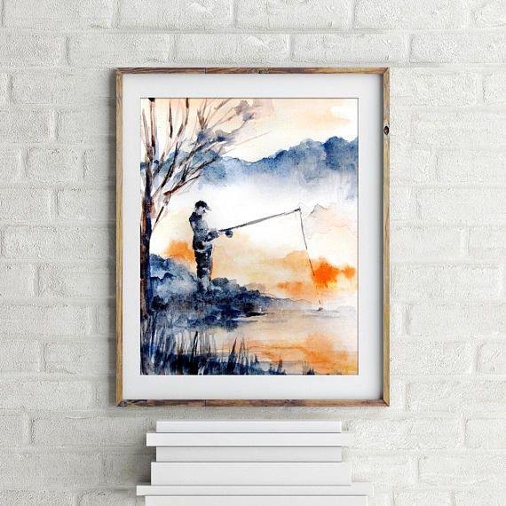 Paysage De Fine Art Print Peinture A L Aquarelle Pecheur De