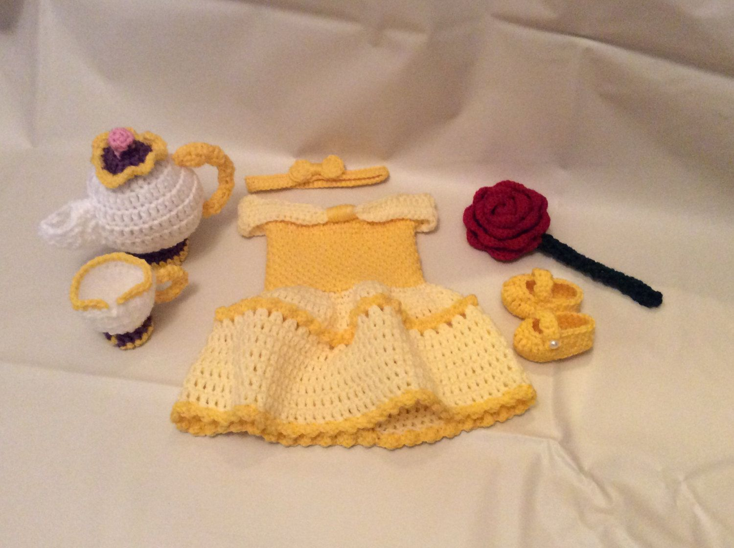 crochet belle newborn photography prop setbeauty and the beastinfant halloween costume - Halloween Photography Props