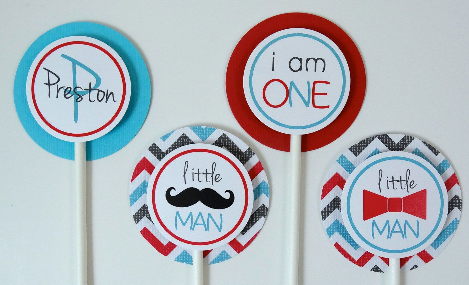 Boys First Birthday Decorations Mustache Cupcake by ...