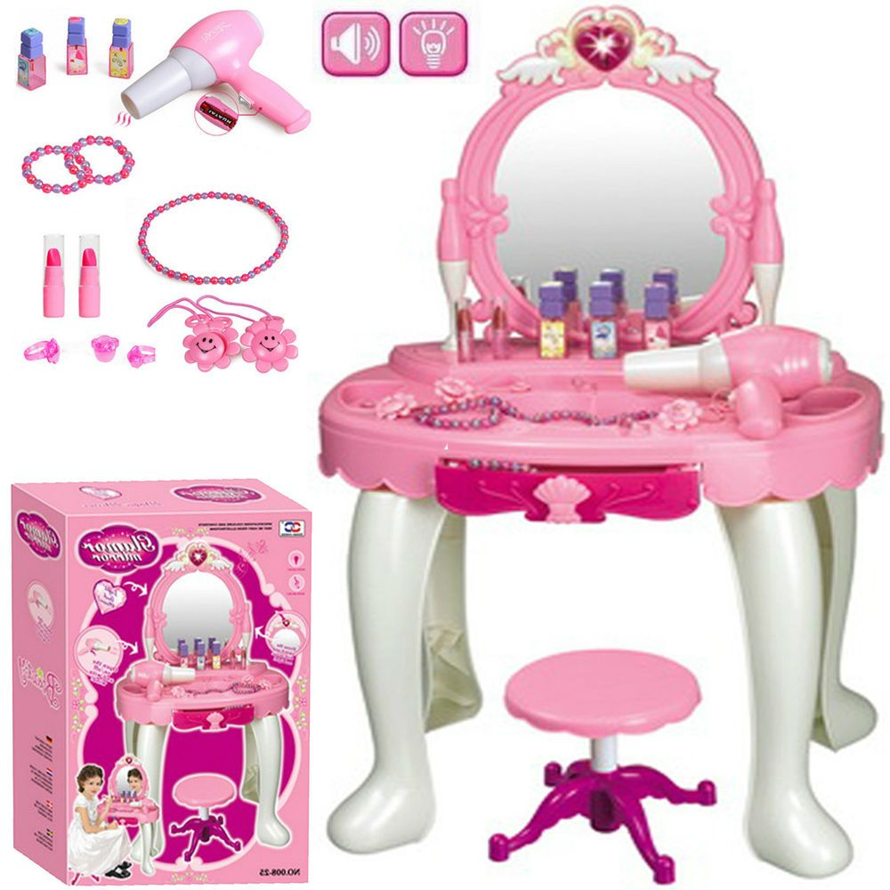Kids Girls Glamour Mirror Dressing Table Pretend Play Set
