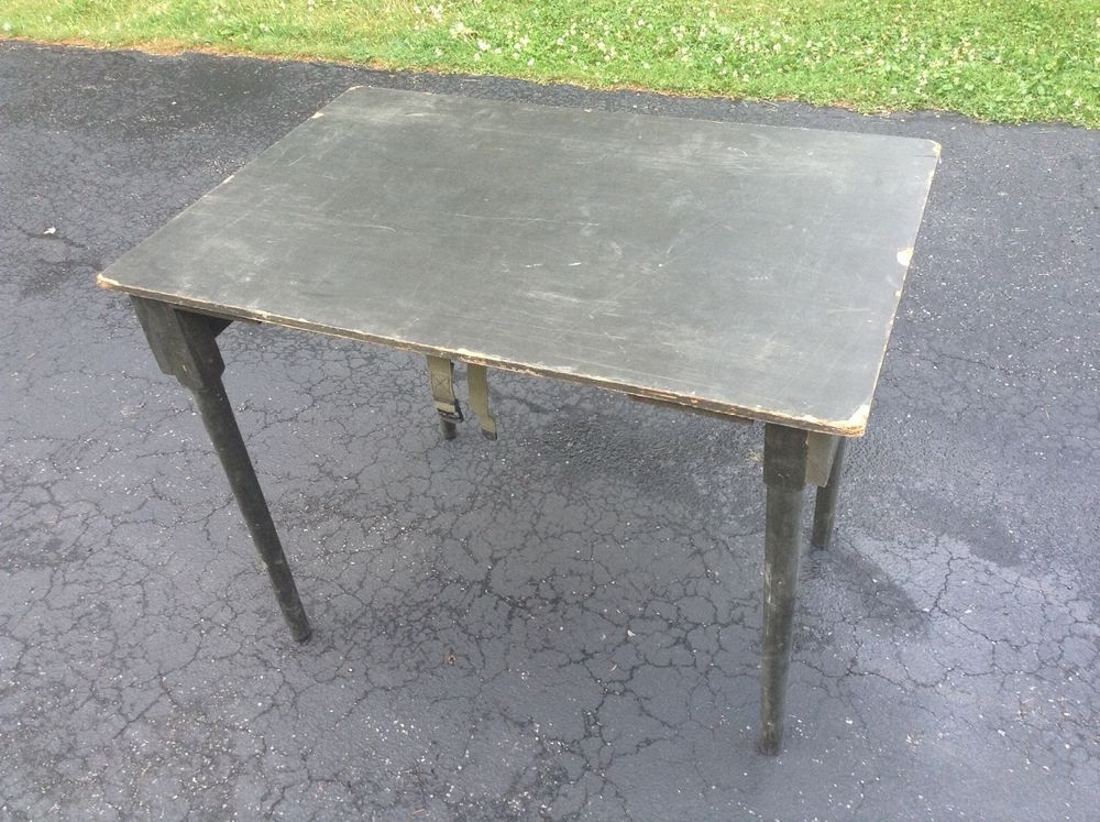 Military Surplus Wood Table Folding Army ficers Field Desk OD