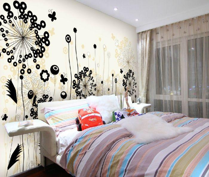 Kreative Wandgestaltung Schlafzimmer Florale Wandsticker