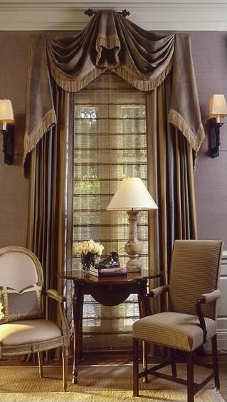 A Formal Window Treatment Like This Works Well Here.The Inside Treatment Is  A Sillouette Blind, Which Has A Sheer Look Which Is Also Formal.