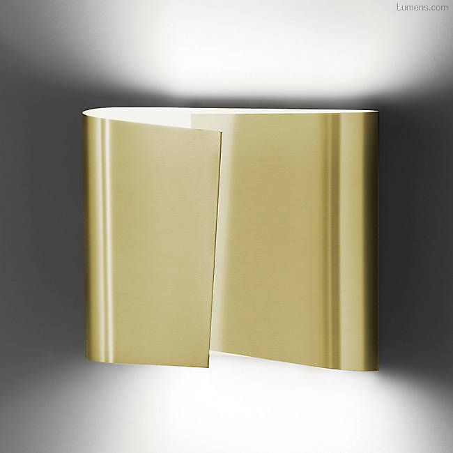 Shown in Brushed Brass finish, Large   Gold wall sconce ... on Decorative Wall Sconces Candle Holders Chrome Nickel id=15475