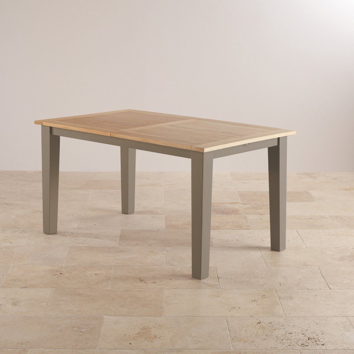 Beautiful St Ives Natural Oak And Light Grey Painted 5ft Extending Dining Table