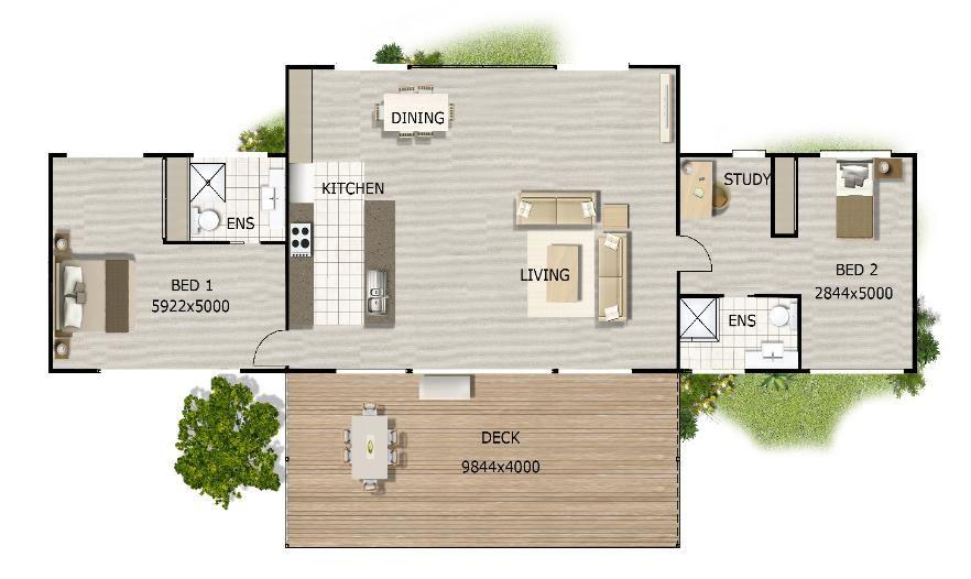 2 bedroom hillside house plans Open house plans, House