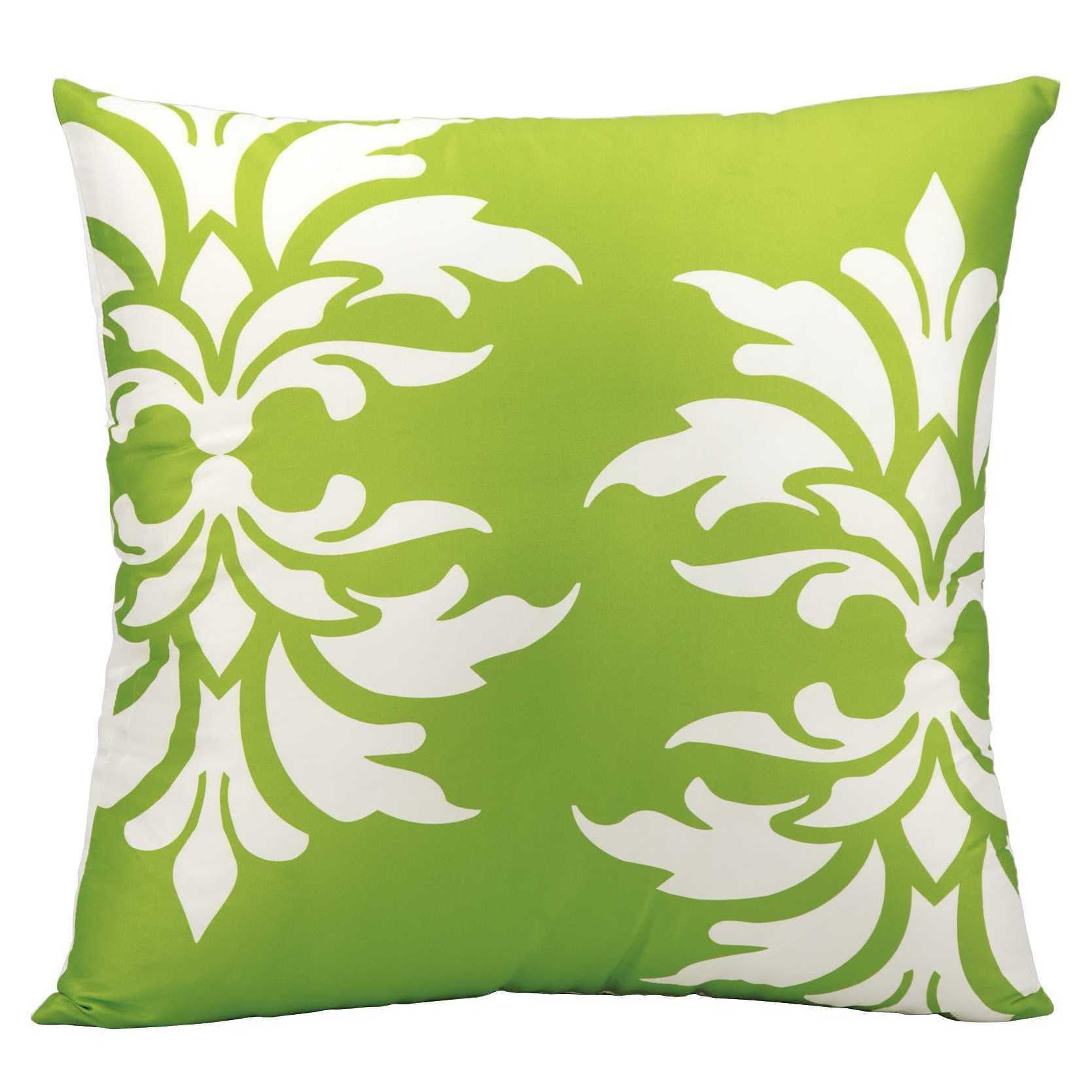 Mina Victory Indoor Outdoor Damask Apple Green Throw Pillow 20 Inch
