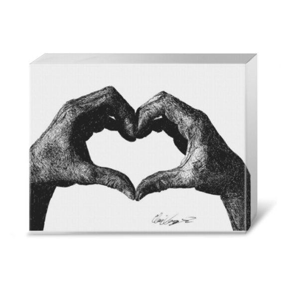 Hand Heart - Canvas print with black, oak, and chocolate frames