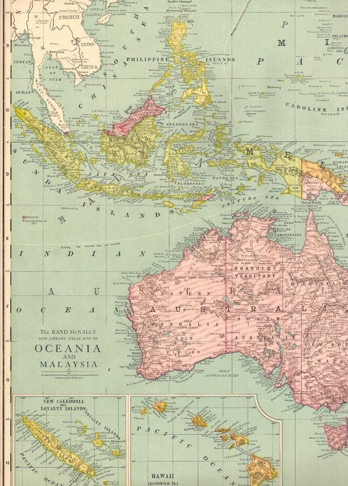 1920 Antique Oceania Map Malaysia Map Polynesia Map Rare Poster
