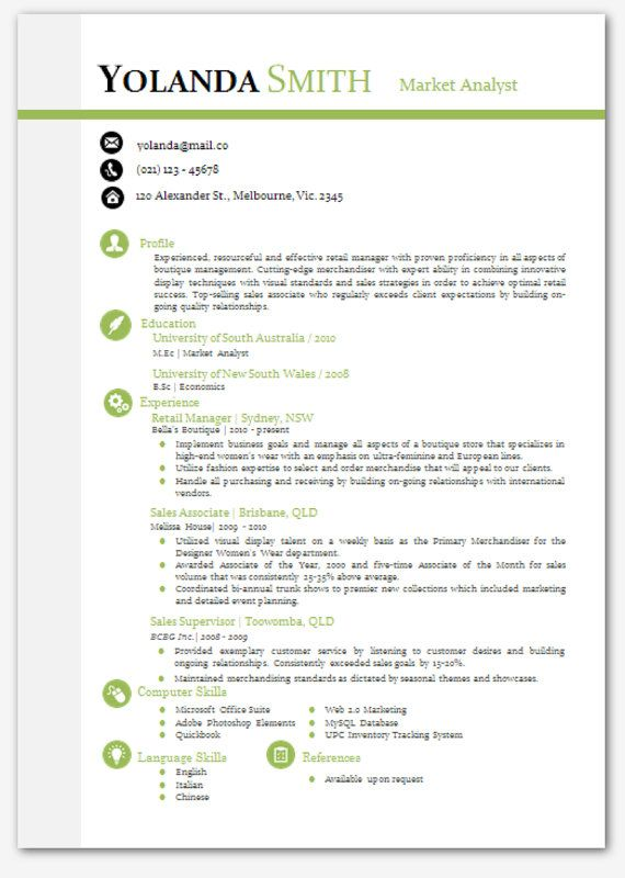 cool looking resume Modern Microsoft Word Resume Template - Yolanda